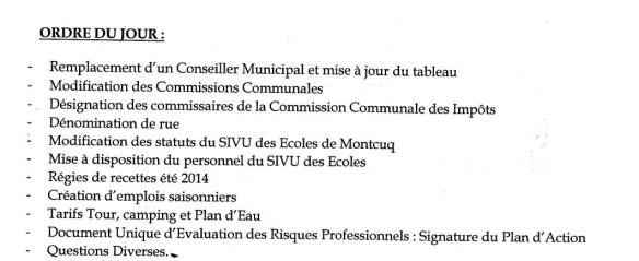 Convoc CM n°3 10juin2014 Ordre du jour