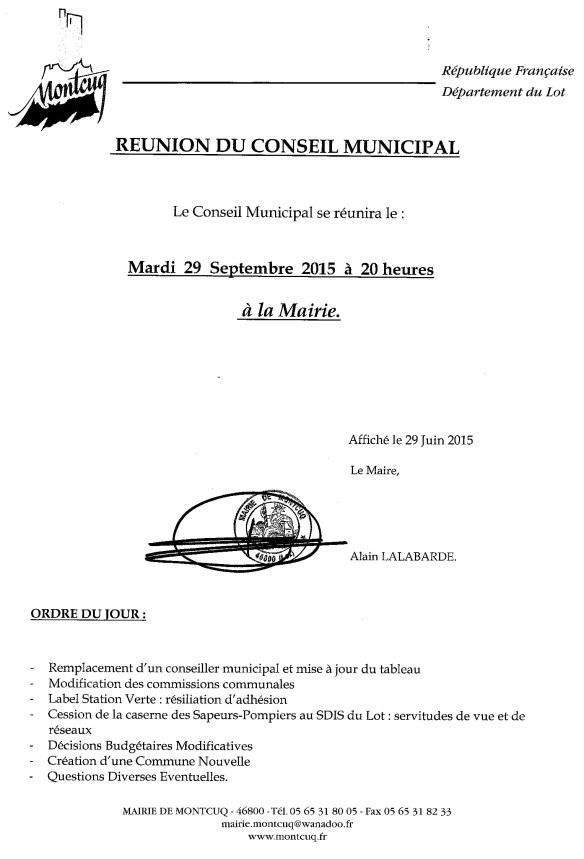 ODJ COnseil municipal du 29 septembre 2015